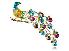 Lady Stunning Colorful Crystal Rhinestone Peacock Feather Bird Design Pin Brooch