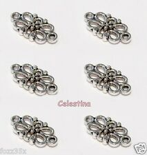 20 Antique Silver Connectors 15 x 8 mm Oval Filigree Links Flower - LF NF