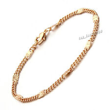 "Real 18k Yellow Gold Filled Women's Bracelet 8"" Chain 4mm link GF Jewelry CF64"