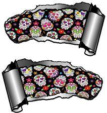 COPPIA di piccole dimensioni RIPPED aperto metallo RIP Gash zucchero SKULL REPEAT Motif Auto Adesivo Decalcomania