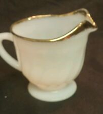 FIRE KING MILK GLASS CREAMER  GOLD TRIM