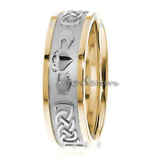 10K Gold 7.5mm Celtic Claddagh Wedding Band Ring Mens Womens Claddagh Ring Bands