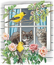 CUTE TWO CATS ON WINDOW WITH BIRDS on ONE LG Fabric Panel- Quilt & Sew - -SALE!