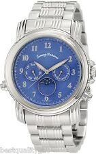 NEW-TOMMY BAHAMA CHASING THE MOON PHASE SILVER TONE+BLUE DIAL SWISS WATCH TB3041