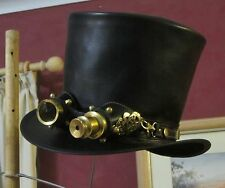 BLACK LEATHER MEN'S FORMAL STEAMPUNK TOP HAT WITH AVIATOR GOGGLES