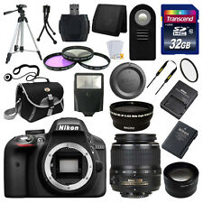 Nikon D3300 Digital SLR DSLR Camera + 3 Lens 18-55mm + 32GB KIT & More Brand New