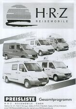 HRZ Preisliste Reisemobile 2003 price list motor homes Preise Wohnmobile Auto