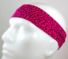 "NEW 2"" Super Soft Pink Black Cheetah Hair Band Head Sport Sweat Headband Stretch"