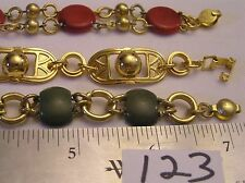 3 Vtg Art Deco Bracelet Lot Green & Red Old plastic Bakelite ? All Brass Jewelry