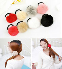 2pcs Mixed Rabbit Fur Elastic Rubber Hair Band Pom Scrunchie Hair Accessories