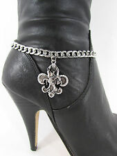 Jewelry Boot Bracelet Silver Fleur De Lis Chain Lily Bling Rodeo Horse Charm