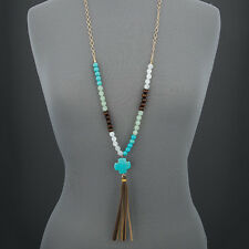 Gold Chain Wooden Faceted Stone Beads Cross Design Leather Tassels Necklace