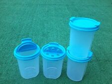 Tupperware Modular Mates Set of 4 Rounds #2 Blue Pour or Shake Seals New