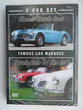 FAMOUS CAR MARQUES 2 DVD SET CLASSIC SPORTS CARS 60'S MG HEALEY MINI JAGUAR FORD