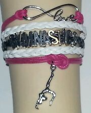 GYMNASTICS LEATHER CHARM BRACELET SILVER-SPORTS-ADJUSTABLE-PINK/BLACK/WHITE-#90