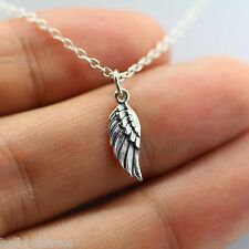 TINY ANGEL WING CHARM NECKLACE 925 Sterling Silver *NEW* Memorial Faith Jewelry