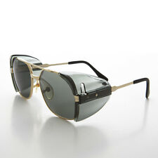 Gold Metal Frame Safety Sunglasses Goggles with Tinted Side Shields - Romeo