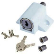 White Sliding Patio Locking Door Bolt. Window Security Lock & 2 Keys & Fixings