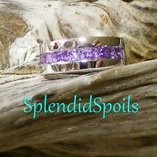 STRIKING SIZE 8 PURPLE AMETHYST-CZs 9 SQUARE CRYSTALS, STERLING SILVER RING-NEW