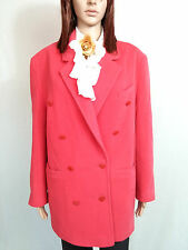 Womens Coral Pink VIRGIN WOOL Vtg Tweed Double Breasted Elegant Coat sz 16 AM61