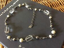 SILPADA Necklace N1602 Sterling Silver, Freshwater Pearl, and Clear Crystal
