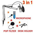 Microphone Mic Layer Screen Pop Filter Mask Shield +Arm Stand Holder Suspension
