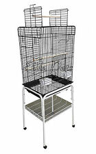 Bird Cage Senegal Open Top Small 830A Black with Stand