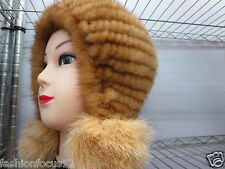 Newly Lady's  Real Three fox Fur balls Fashion knitted mink hat/yellow