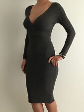 Women's Grey Long Sleeve Bodycon Winter Knitted Sweater Midi Dress Size 8-10-12