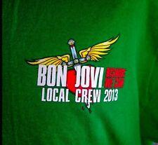 Bon Jovi T-shirt Local Crew 2013 XL Tee Because We Can Tour Green