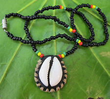 Cowrie Shell Pendant Rasta Bead Necklace Jewelry womens/mens/Girls/Boys Kids