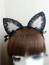 Fancy Dress Costume Black Lace Cat Ears Bells Halloween Headband Hen Night