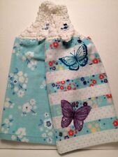 2 Hanging Kitchen Dish Towels with Crochet Tops SPRINGTIME BUTTERFLIES