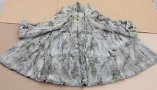 Black Tip Broadtail Lamb Coat VTG 30s Deco Fur Silver Gray Beaded Accents M