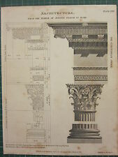 1802 daté impression antique ~ architecture temple de Jupiter Stator à Rome