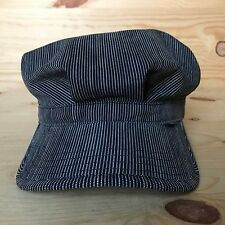VINTAGE SUPREME STRIPED FITTED RAILROAD WORKER HAT BOX LOGO DENIM PRE 2005 M
