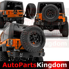 "07-17 Jeep JK Wrangler Rock Crawler Guard HD Rear Bumper+Tire Carriers+2"" Hitch"