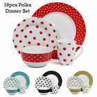 16 Pieces Dinner Service Set Polka Porcelain Dining Tableware Plates Bowls Mugs