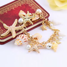 Fashion Ocean Multi Starfish Sea Star Conch Shell Pearl Chain Beach Bracelet UF