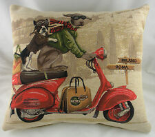 "18"" SCOOTER DOGS RED Belgian Tapestry Cushion Evans Lichfield Dog Boston Lab"