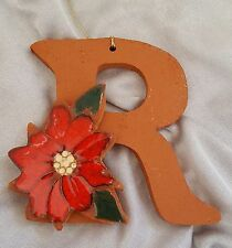 Christmas Ornament Georgia Clay Floral Letter 'R'