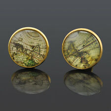 Golden Jewelry Gift 1 Pair World Map Theme Cufflinks Old Cuff links for men