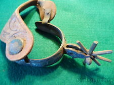 ANTIQUE MEXICAN COWBOY SPUR WITH TOOLED LEATHER STRAP