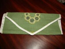 Pretty Antique,Vintage Sewing , Embroidery Case,Sachet~Green Linen~Silk Edged