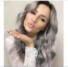 """26"""" Long Ombre Grey Wigs Natural Hair Wig Synthetic Cosplay Fashion Heat Wig+Cap"""