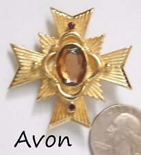 Vtg Signed AVON Maltese Cross Pin/Pendant, Allegro '83,Amber Glass & Amethyst RS