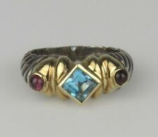David Yurman 14K & Sterling Blue Topaz & Pink Tourmaline Renaissance Cable Ring
