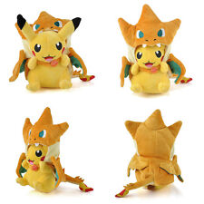 Cute Pokemon Pikachu With Charizard Hat Plush Soft Toys Stuffed Animal Doll Gift