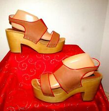 ANTHROPOLOGIE MESSECA JEN SZ 9.5 PLATFORM COGNAC/CORAL LEATHER SLINGBACK SANDALS