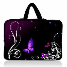 "Purple Butterfly 15"" 15.4"" 15.5"" 15.6"" Laptop Sleeve Soft Bag Case Cover +Handle"